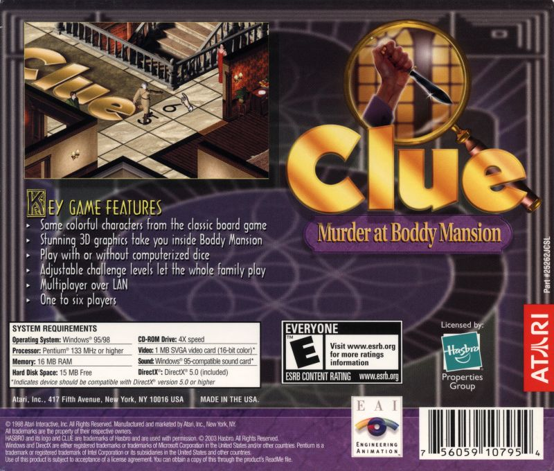 Clue: Murder at Boddy Mansion Windows Back Cover
