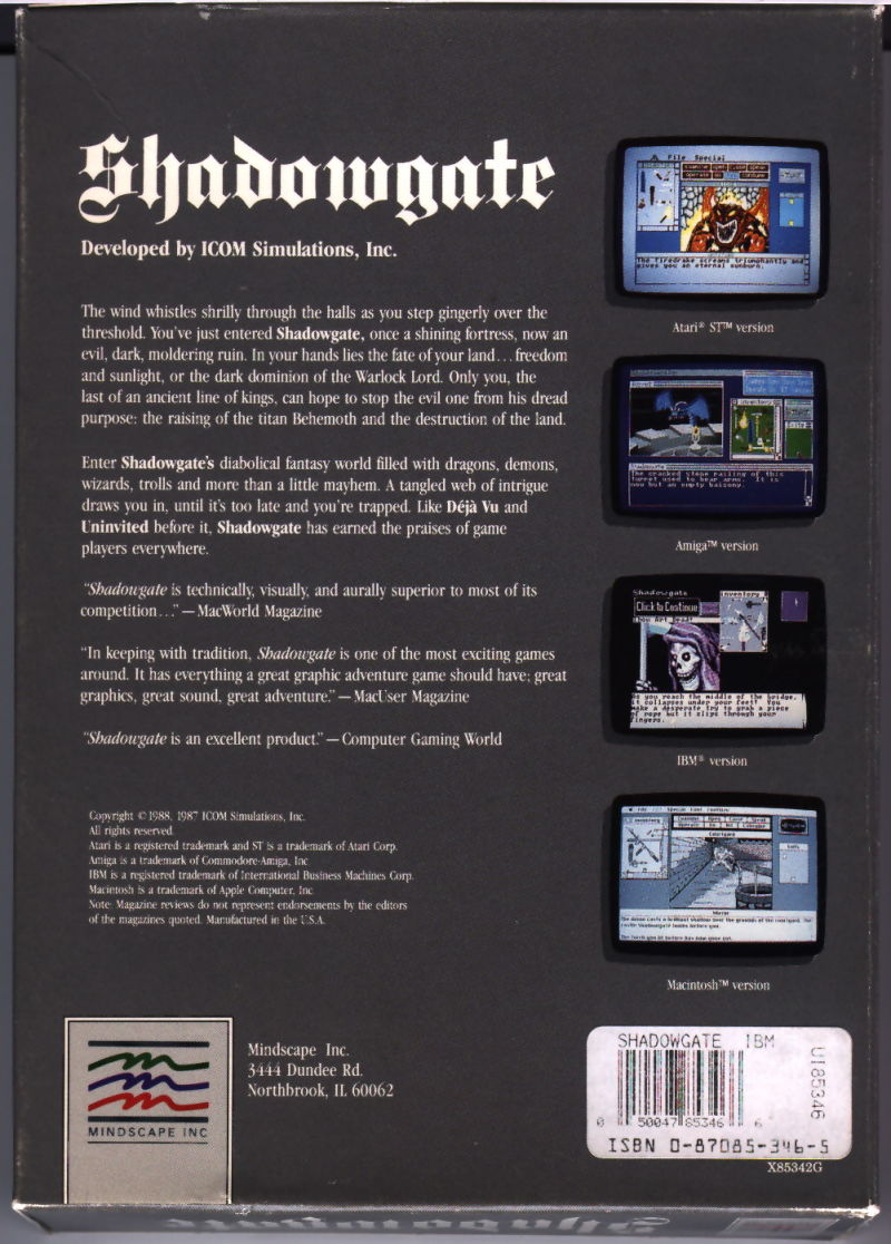 Shadowgate DOS Back Cover