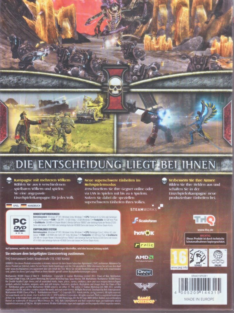 Warhammer 40,000: Dawn of War II - Retribution (Collector's Edtion) Windows Back Cover