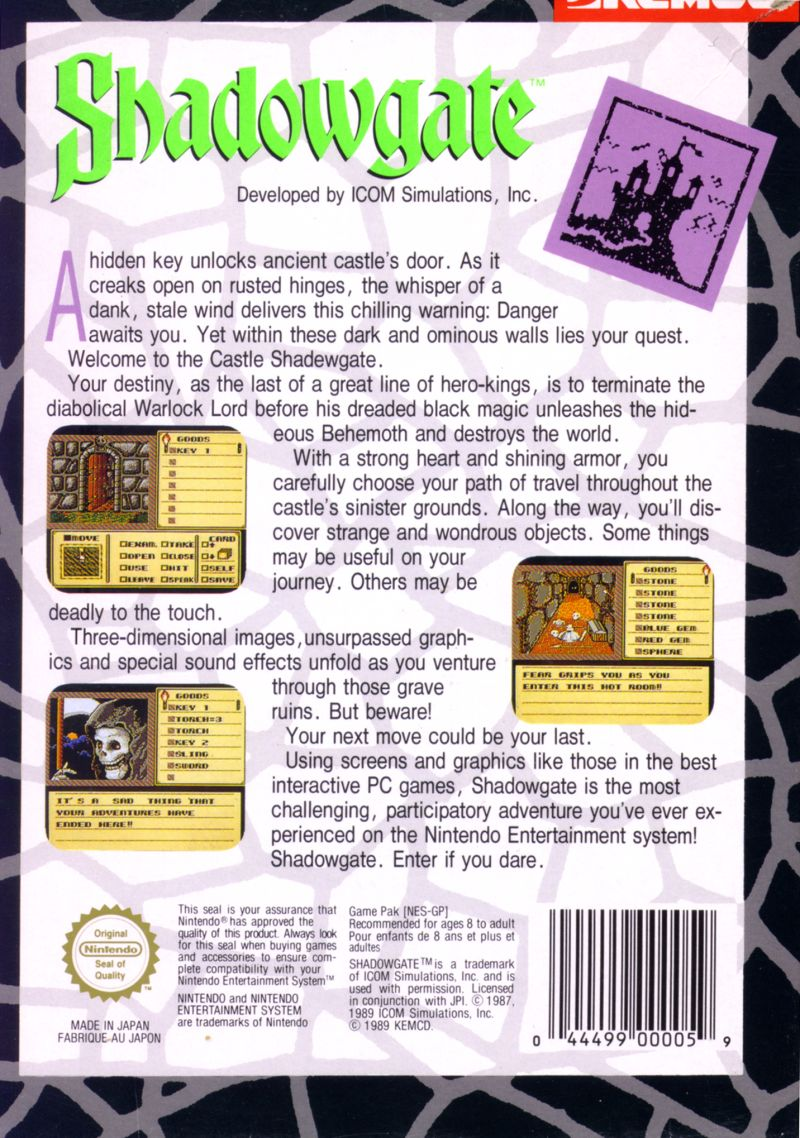 Shadowgate NES Back Cover