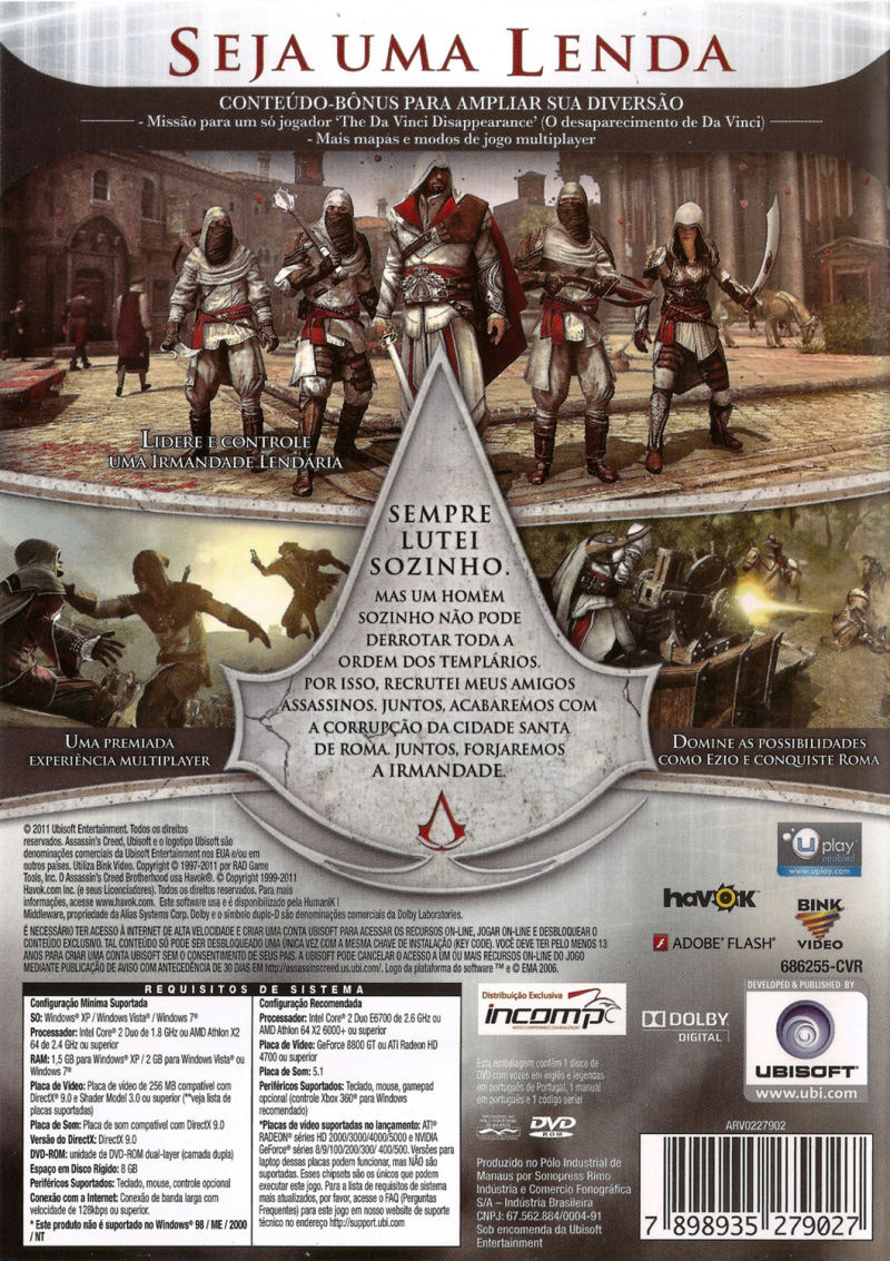 Assassin's Creed: Brotherhood Windows Back Cover