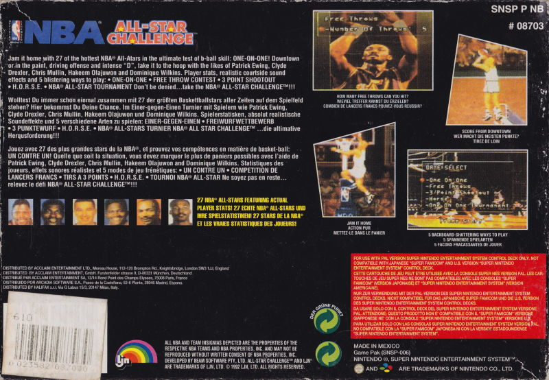75d712cd9c8 NBA All-Star Challenge (1992) SNES box cover art - MobyGames