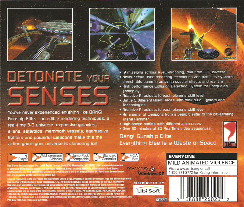 Bang! Gunship Elite Dreamcast Back Cover