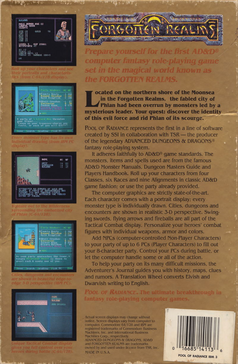 Pool of Radiance DOS Back Cover
