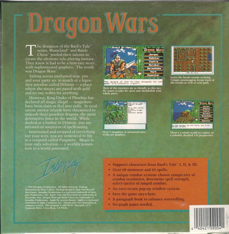 Dragon Wars Commodore 64 Back Cover