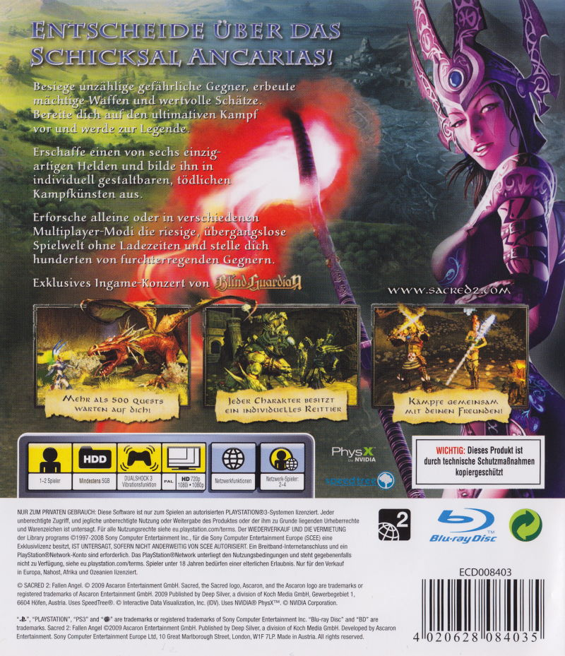 Sacred 2: Fallen Angel PlayStation 3 Back Cover