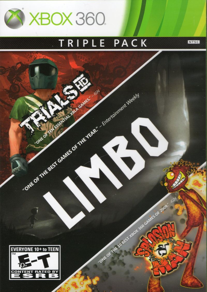 Triple Pack: Trials HD, Limbo, Splosion Man Xbox 360 Front Cover