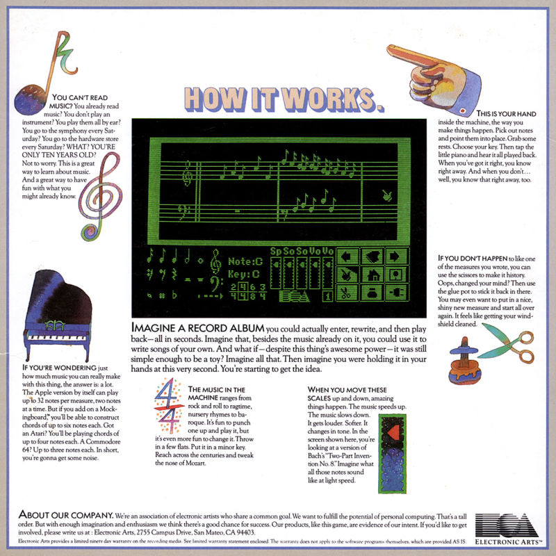 Will Harvey's Music Construction Set PC Booter Back Cover