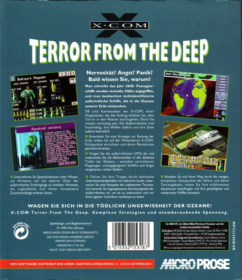 X-COM: Terror from the Deep DOS Back Cover