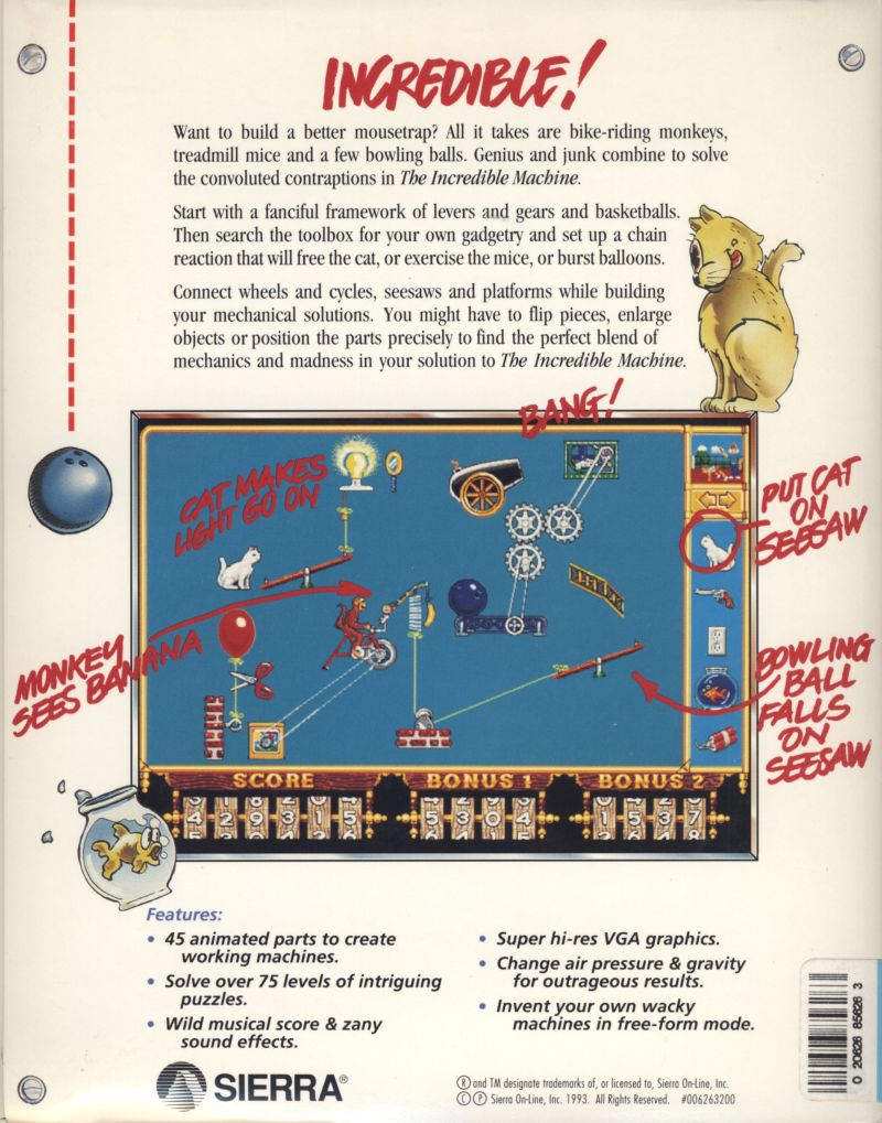 The Incredible Machine DOS Back Cover