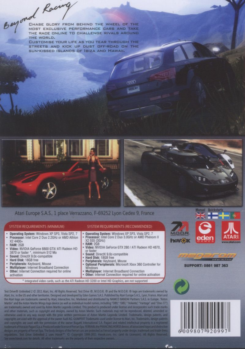Test Drive Unlimited 2 (2011) PlayStation 3 box cover art