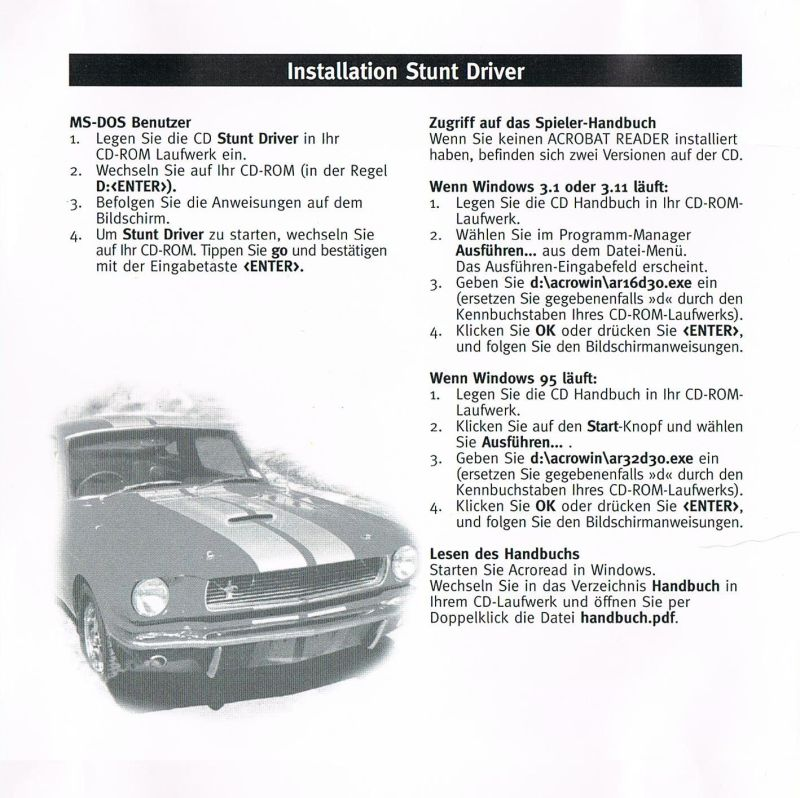 Stunt Driver DOS Inside Cover