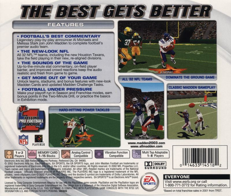 Madden NFL 2003 PlayStation Back Cover