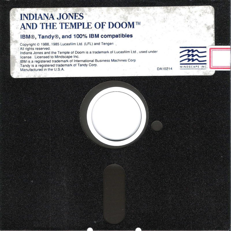 Indiana Jones and the Temple of Doom DOS Media