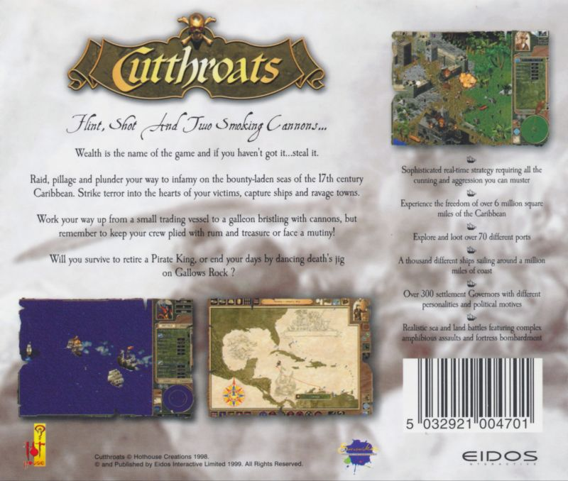 Cutthroats: Terror on the High Seas Windows Other Jewel Case (Back)