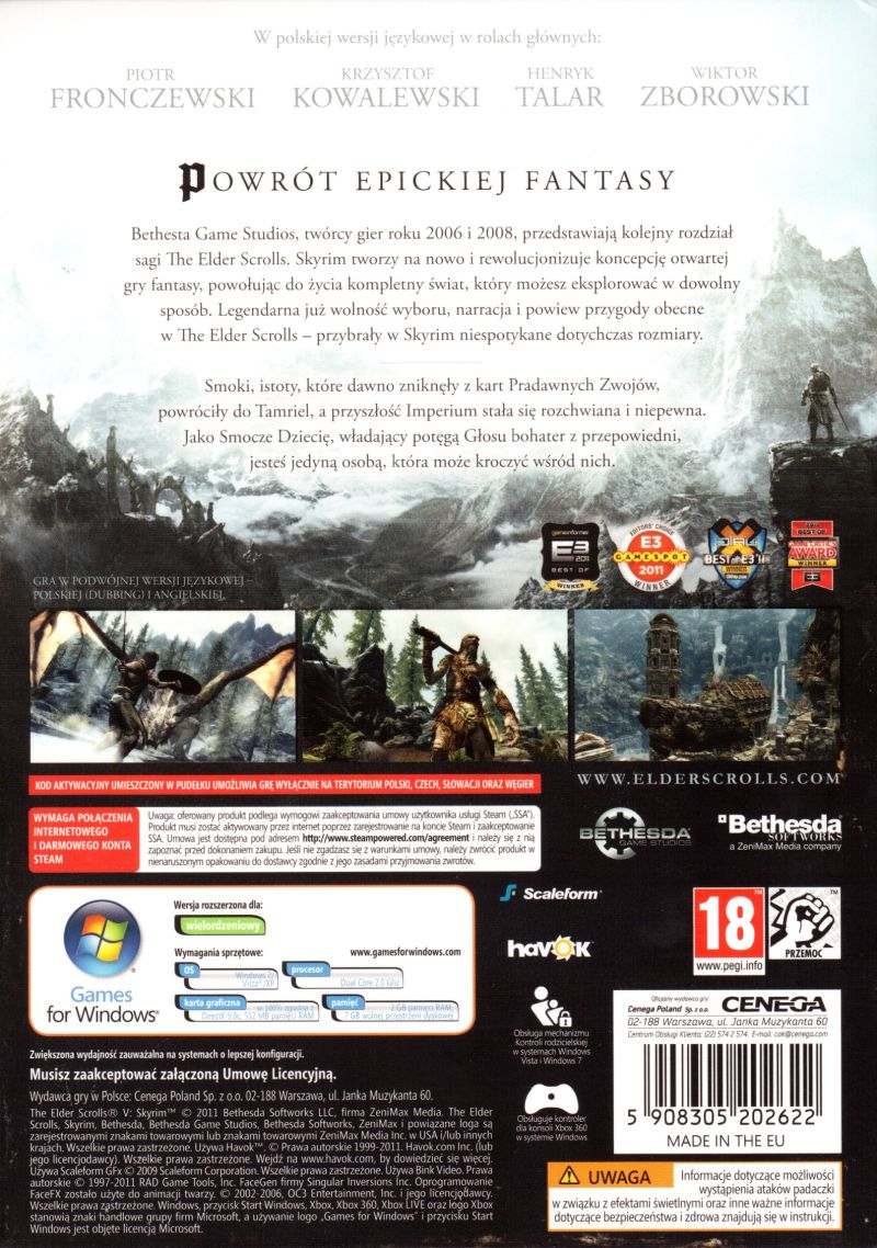 The Elder Scrolls V: Skyrim Windows Back Cover