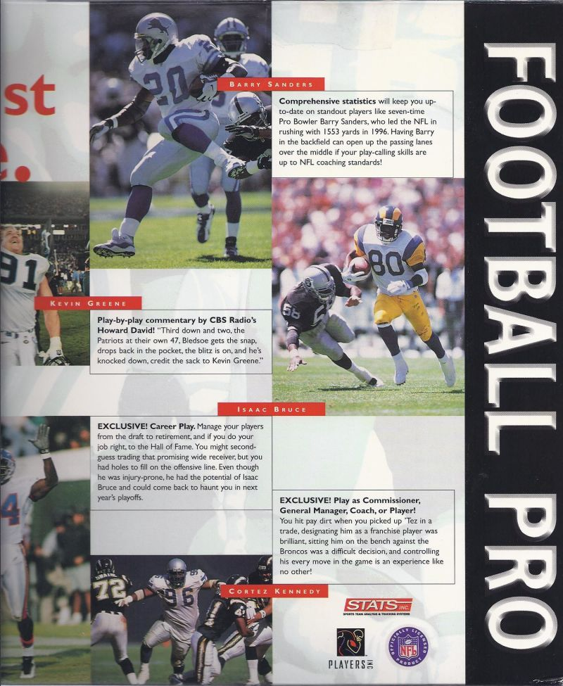 Front Page Sports: Football Pro '98 Windows Inside Cover Right