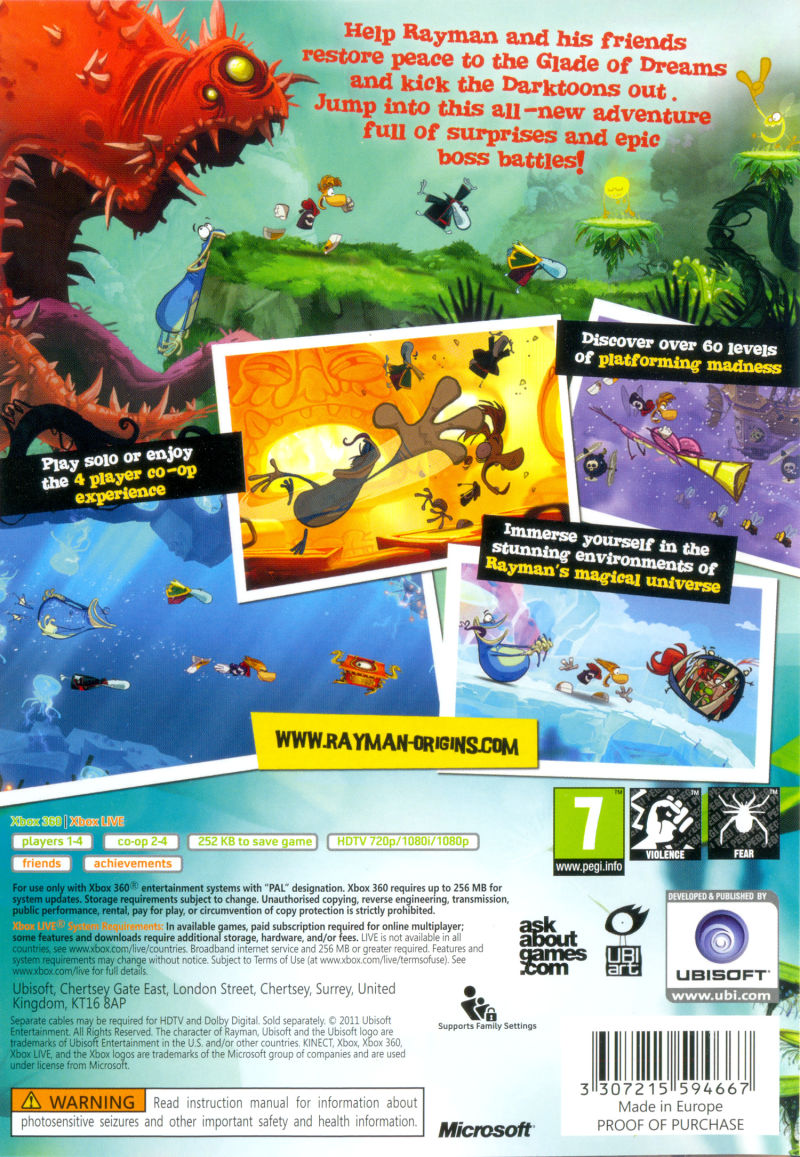 Rayman Origins Xbox 360 Back Cover