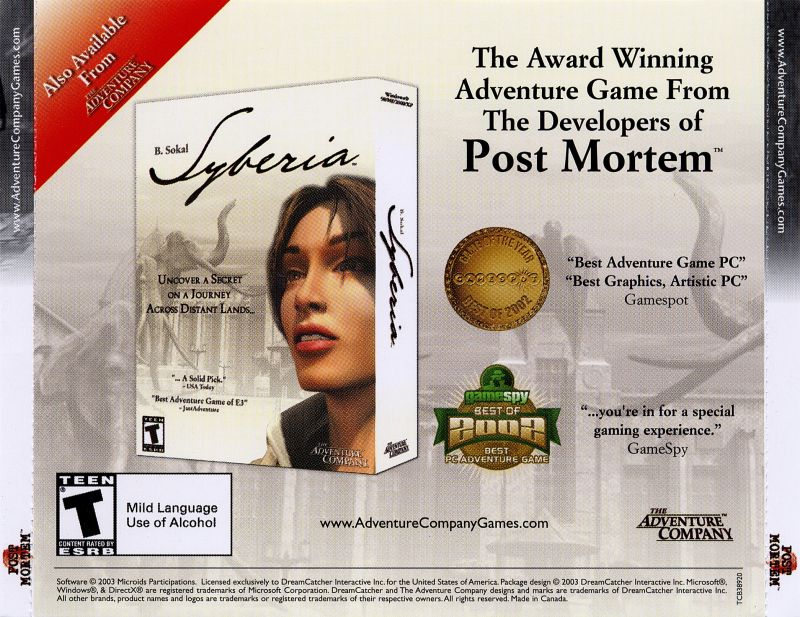 Post Mortem Windows Other Jewel Case - Back