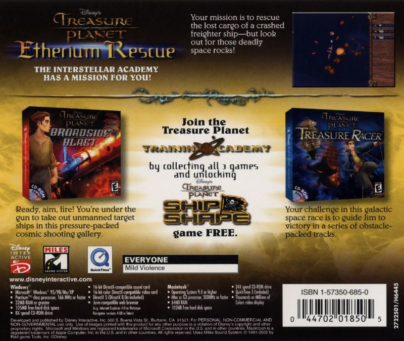 Disney's Treasure Planet Collection Macintosh Other Etherium Rescue - Back