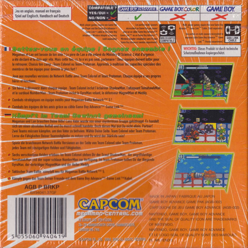 Mega Man Battle Network 5: Team Colonel Game Boy Advance Back Cover