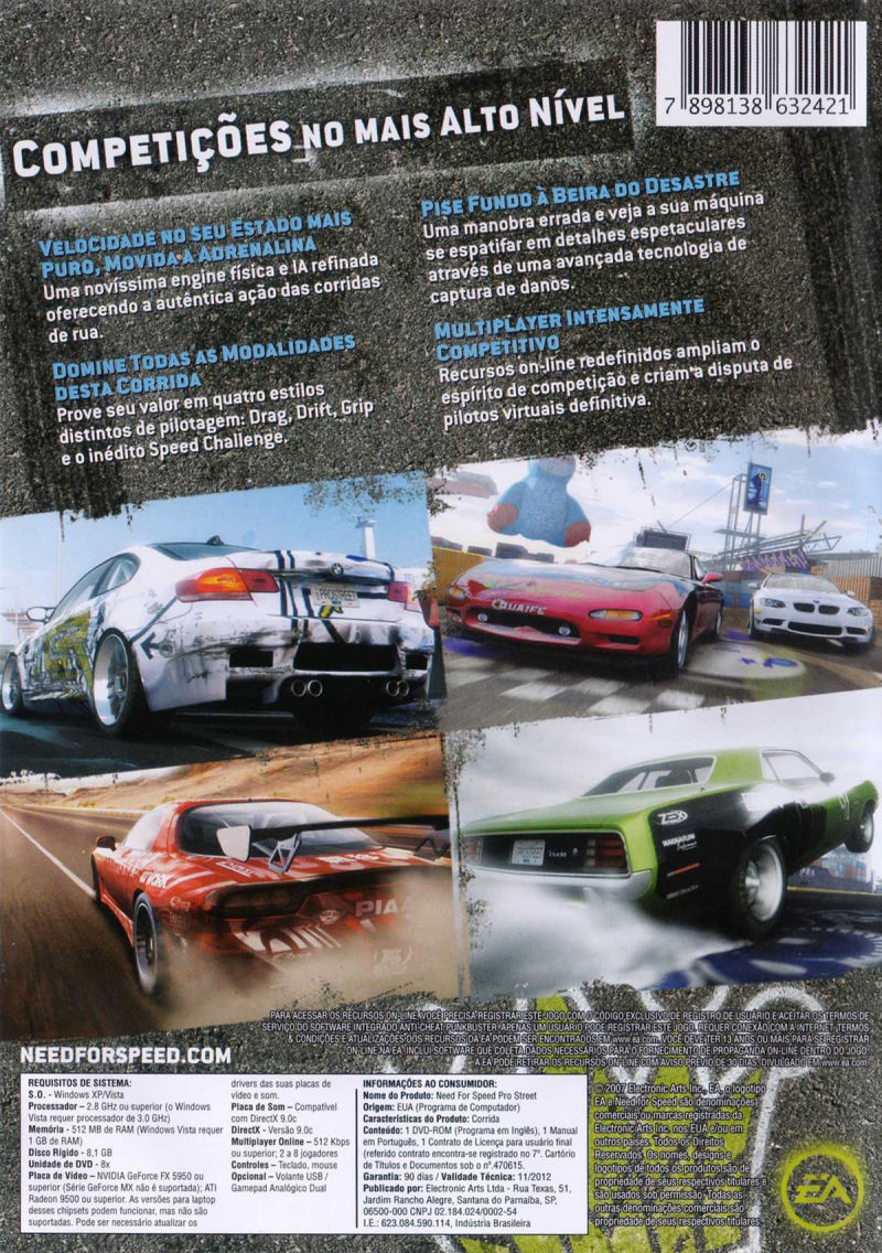 Need for Speed: ProStreet Windows Back Cover