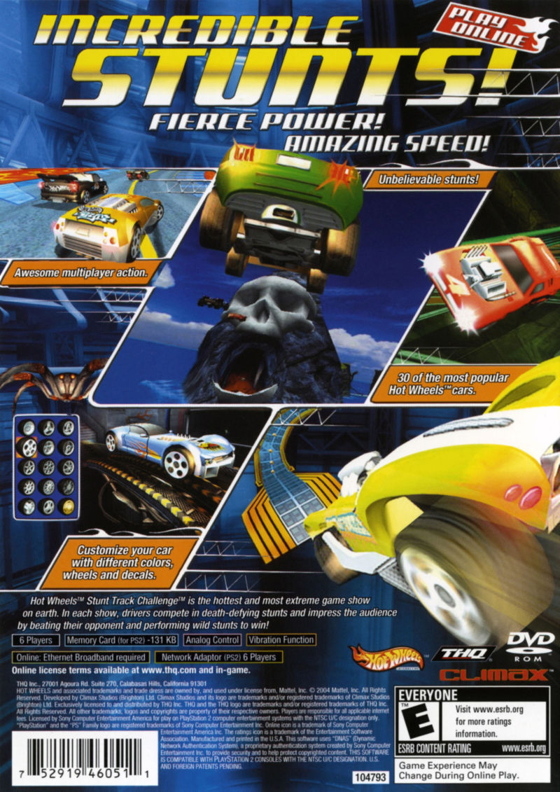 Hot Wheels: Stunt Track Challenge PlayStation 2 Back Cover