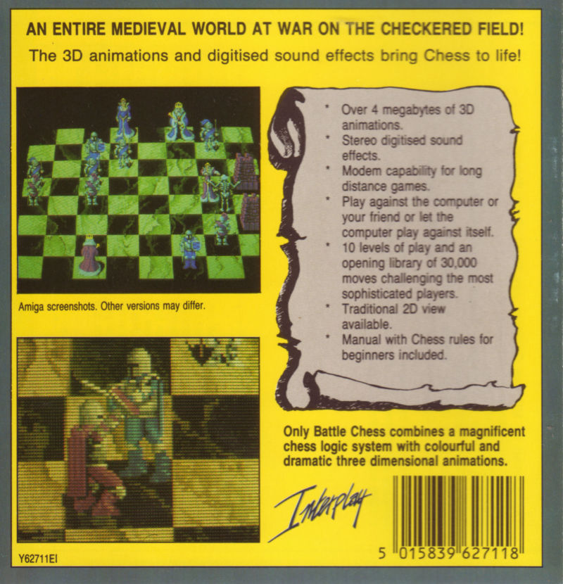 Battle Chess Amiga Back Cover