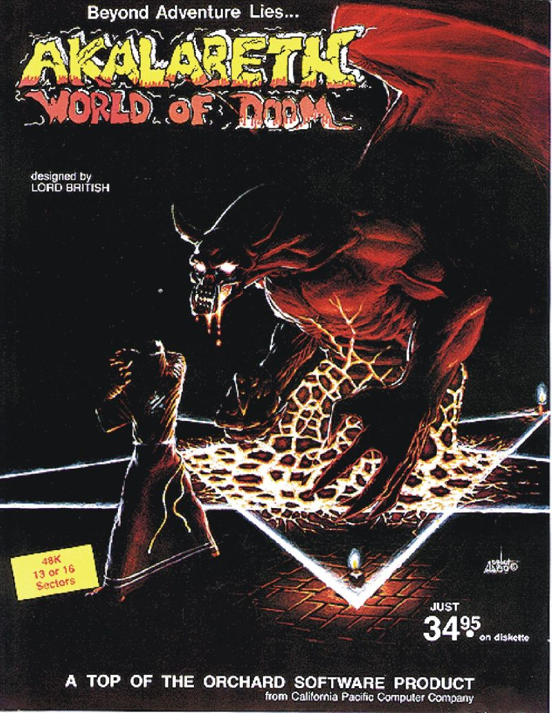 Akalabeth: World of Doom Apple II Front Cover