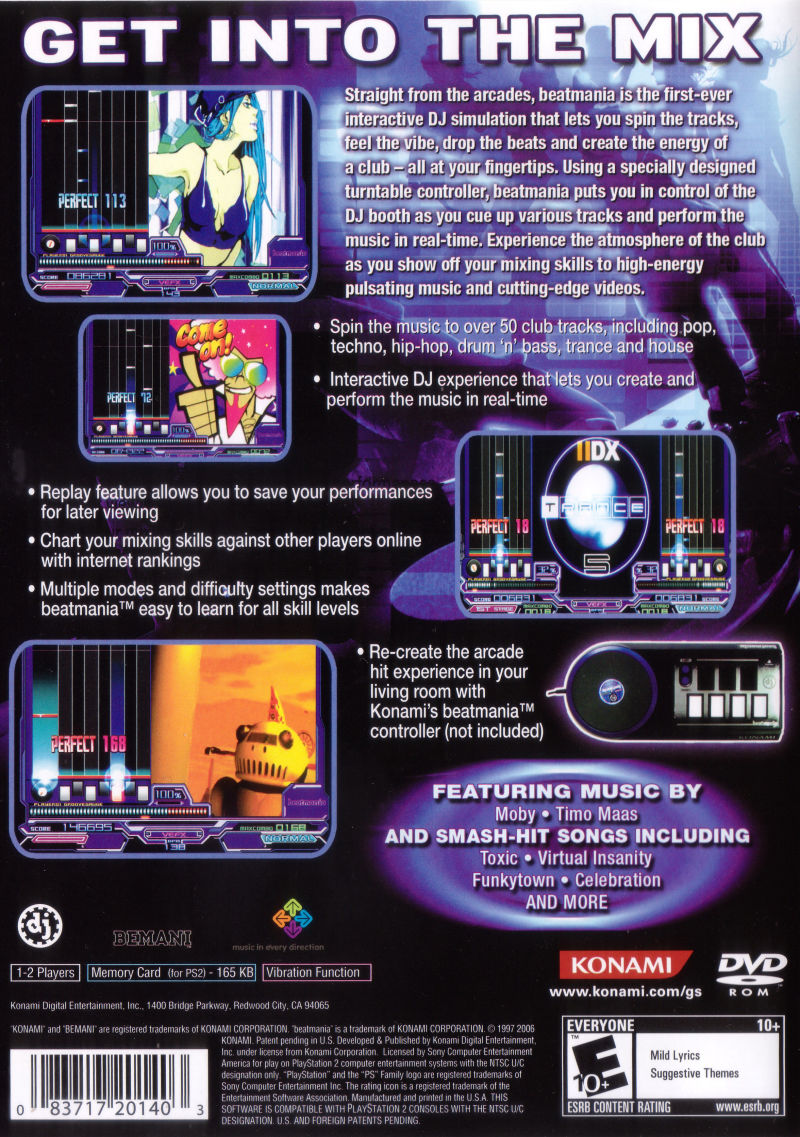 beatmania PlayStation 2 Back Cover