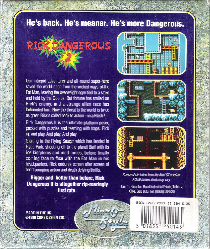 Rick Dangerous 2 DOS Back Cover