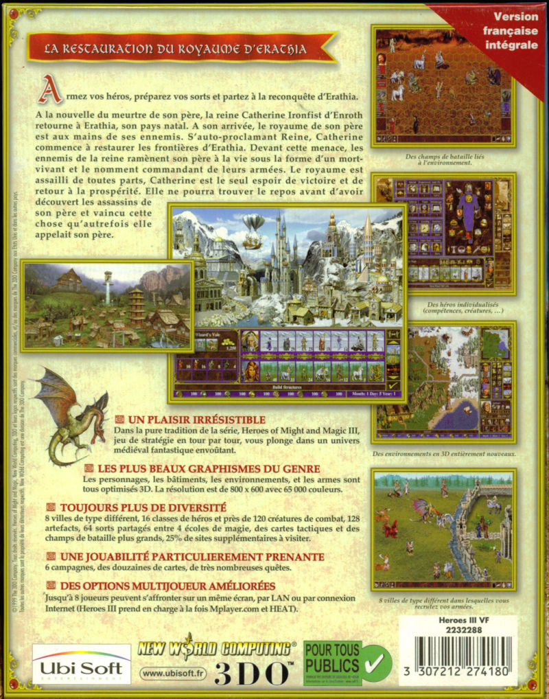 Heroes of Might and Magic III: The Restoration of Erathia Windows Back Cover