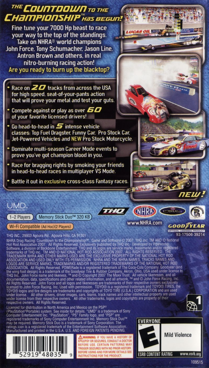 NHRA Drag Racing: Countdown to the Championship PSP Back Cover