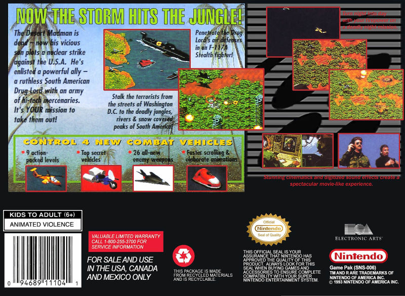 Jungle Strike SNES Back Cover