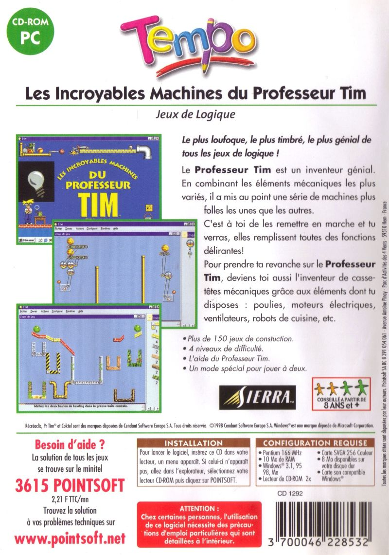 The Incredible Machine 2 Windows Back Cover