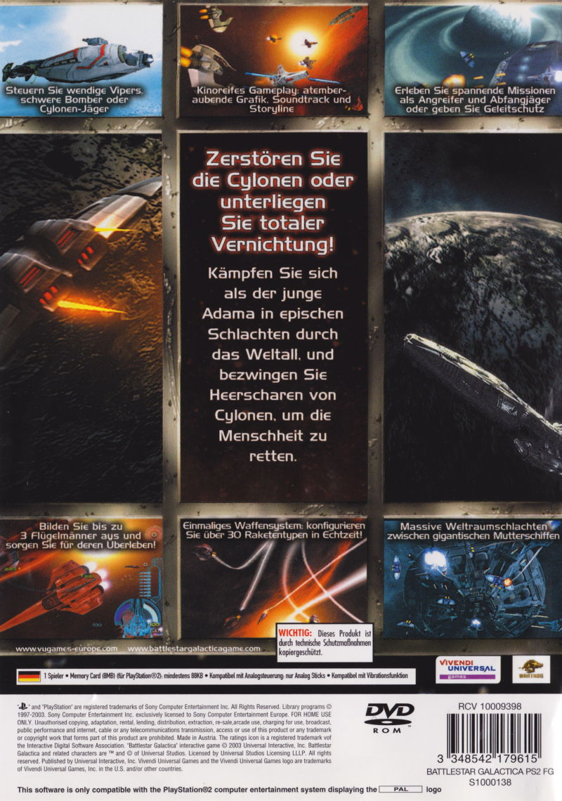 Battlestar Galactica PlayStation 2 Back Cover