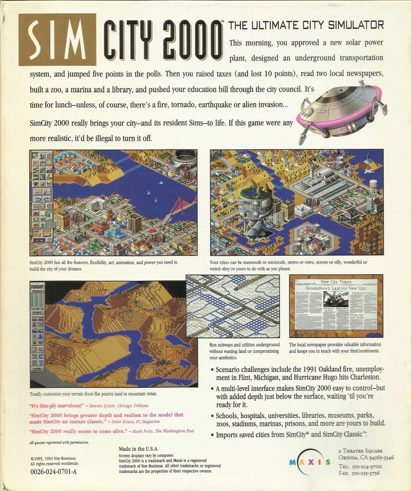 SimCity 2000 Windows 3.x Back Cover
