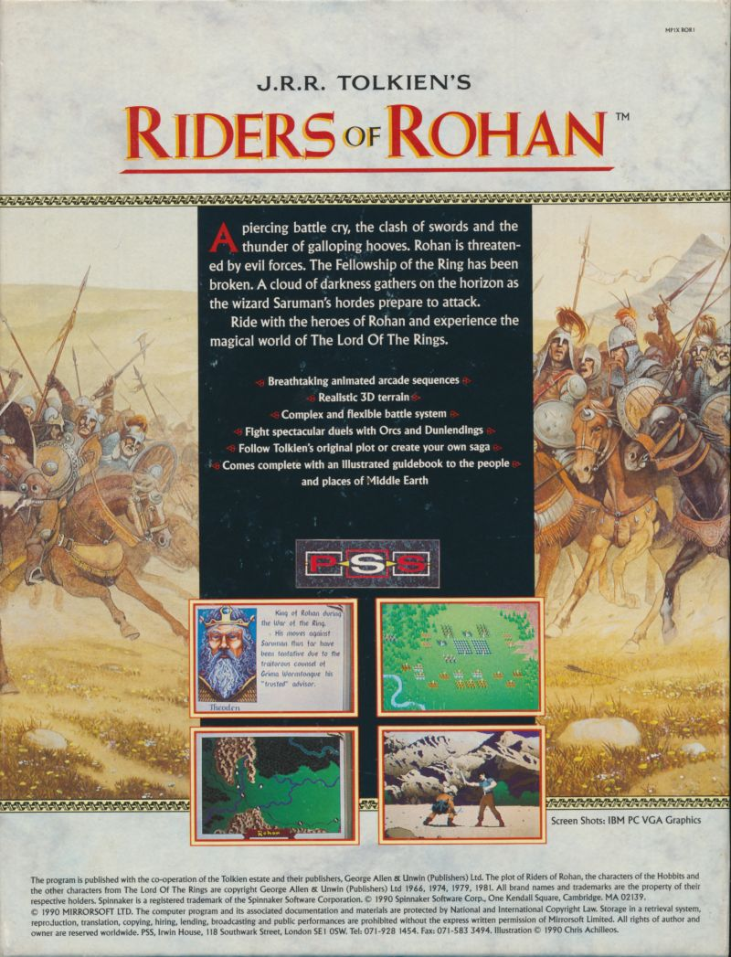 J.R.R. Tolkien's Riders of Rohan DOS Back Cover