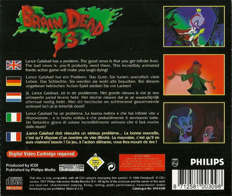 Brain Dead 13 CD-i Back Cover