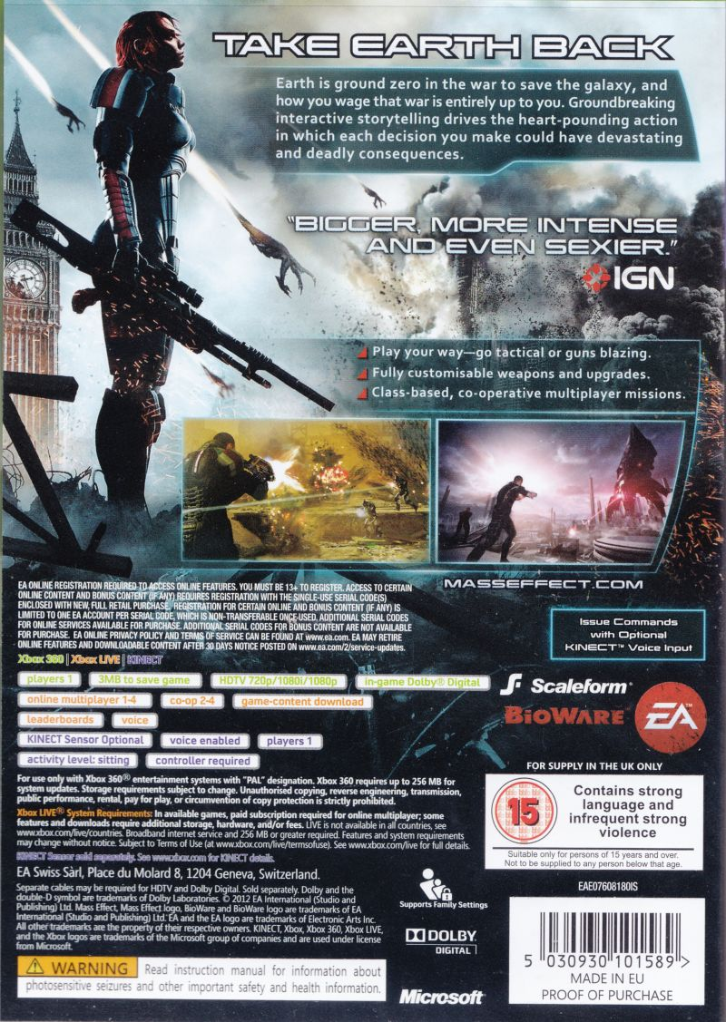 Xbox 360 Game Cover Back Mass Effect 3 (2012) X...