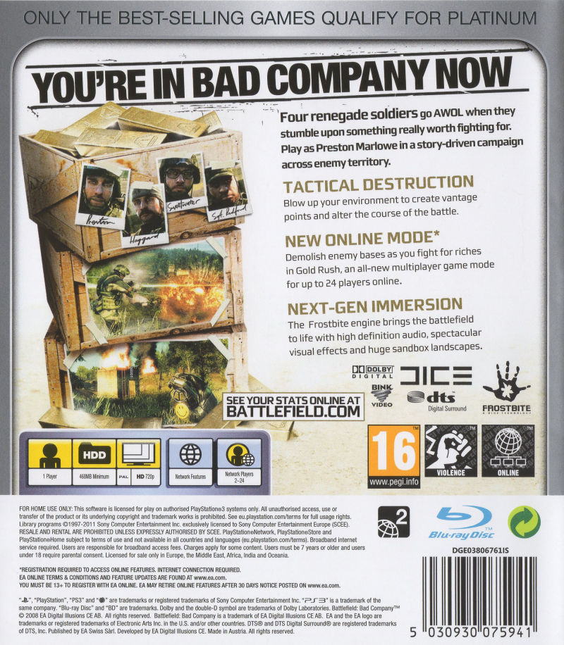 Battlefield: Bad Company PlayStation 3 Back Cover