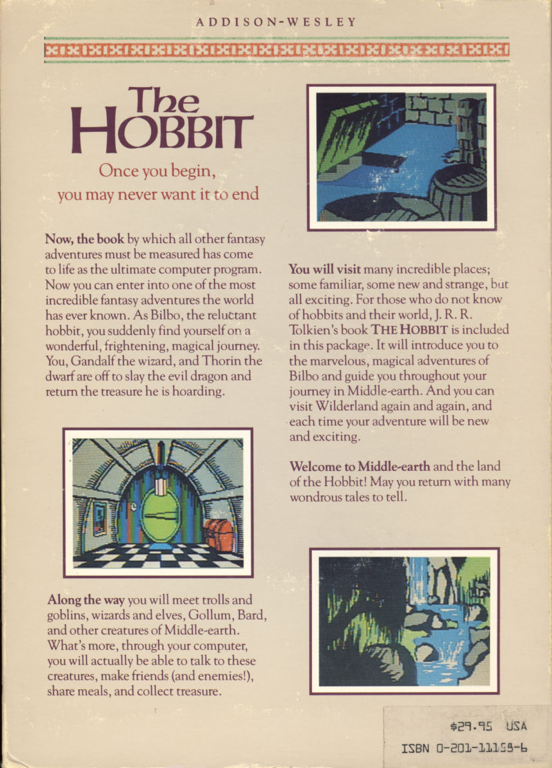 The Hobbit Commodore 64 Back Cover