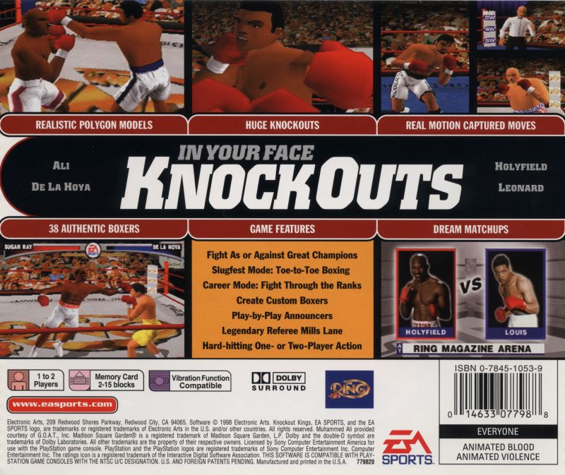 Knockout Kings PlayStation Back Cover