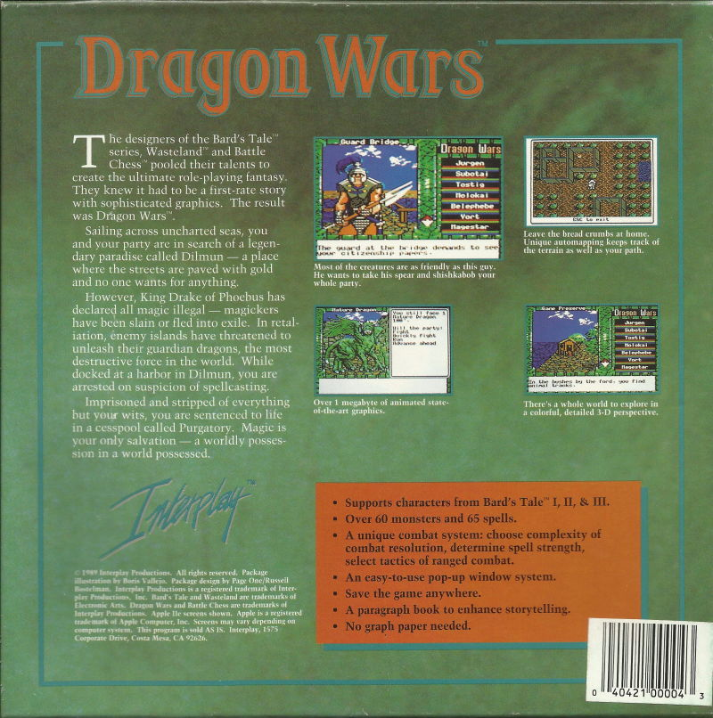 Dragon Wars DOS Back Cover