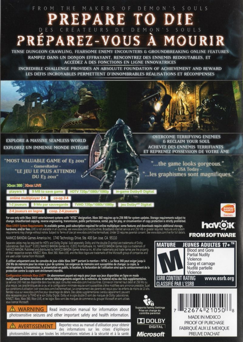 Xbox 360 Game Cover Back Dark Souls (2011) Xbox...