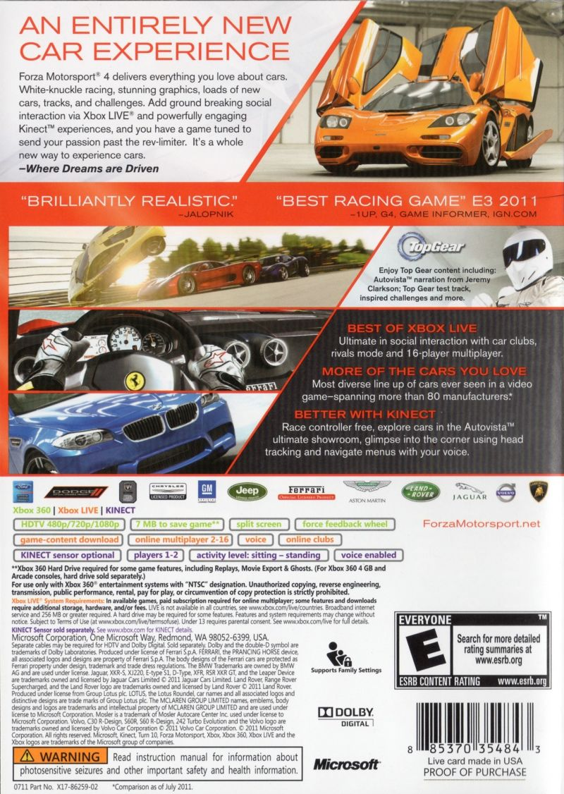 Forza Motorsport 4 Xbox 360 Back Cover