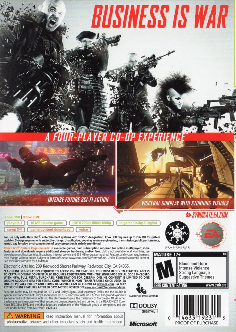 Xbox 360 Game Cover Back Syndicate (2012) PlayS...