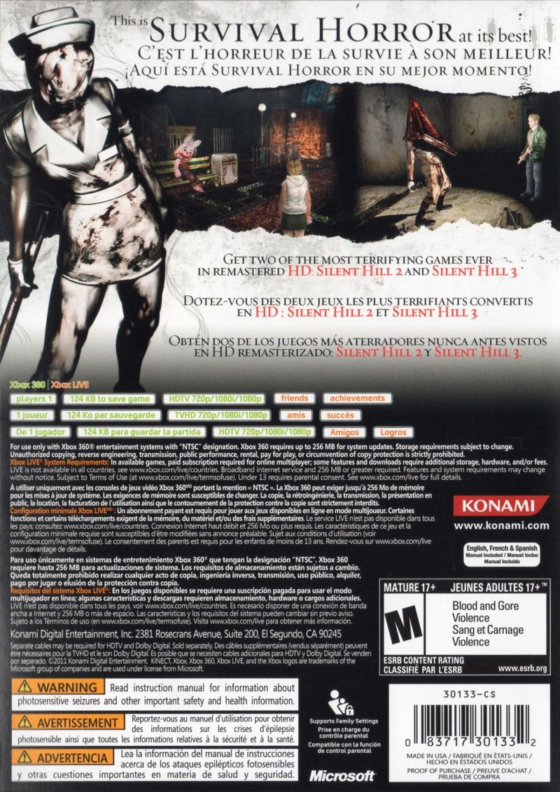 Silent Hill: HD Collection Xbox 360 Back Cover
