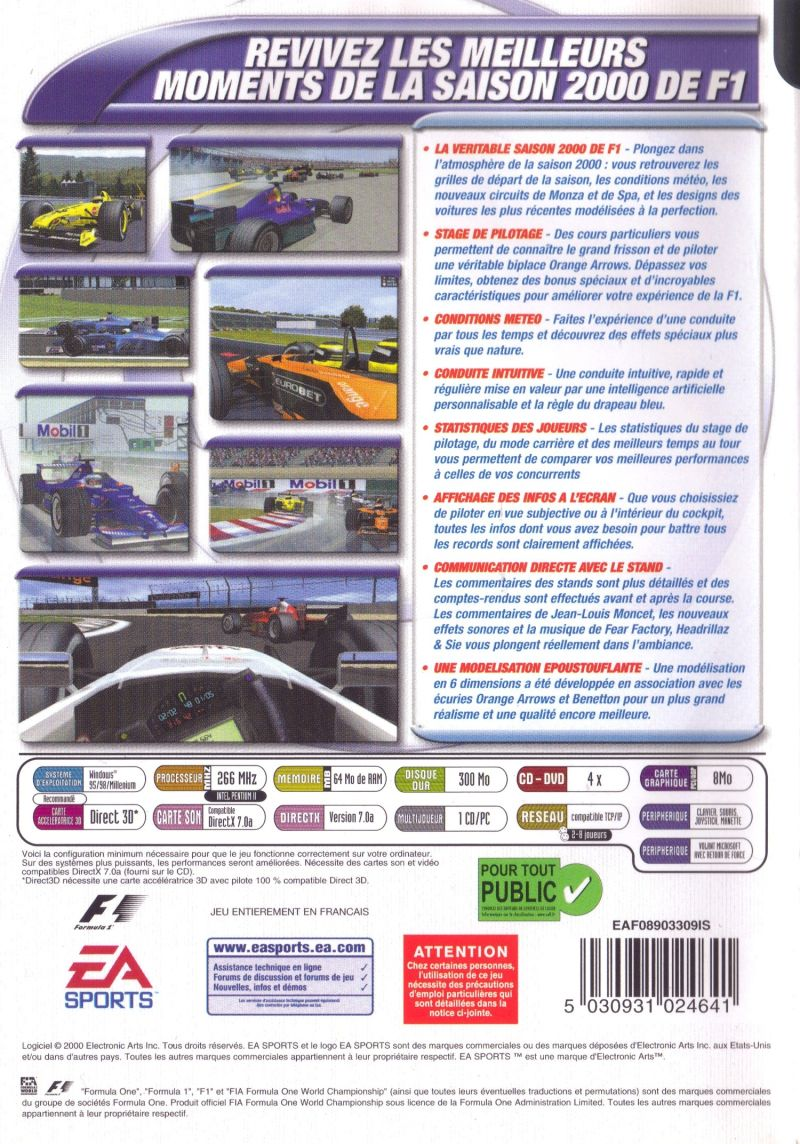 F1 Championship Season 2000 Windows Back Cover