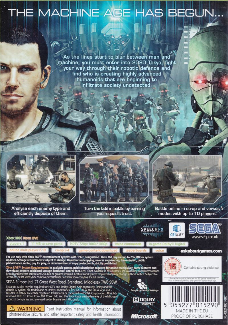 Binary Domain Xbox 360 Back Cover